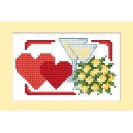 ZU 4670-01 Stickpackung - Hochzeitskarte - Die Herzchen