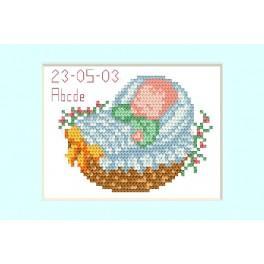 ZU 2005-02 Stickpackung - Geburtskarte - Blau Kinderwagen