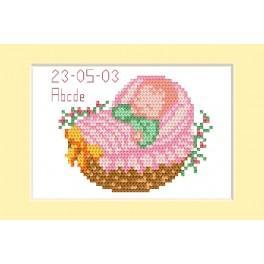 ZU 2005-01 Stickpackung - Geburtskarte - Rosa Kinderwagen