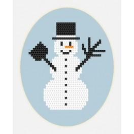 Stickpackung - Karte - Schneemännchen