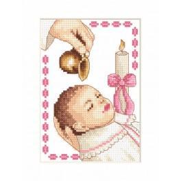 Stickpackung - Karte - Taufe eines Mädchens