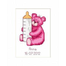ZU 8451 Stickpackung - Geburtskarte - Bärchendame