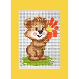 Stickpackung - Geburtstagskarte - Das Bärchen mit einer Blume