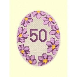 Stickpackung - Geburtstagskarte - Violette Blumen