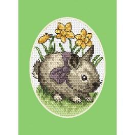 Stickpackung - Osternkarte - Häschen mit Schleife