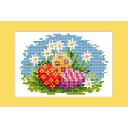 Stickpackung - Osternkarte - Bunte Ostereier