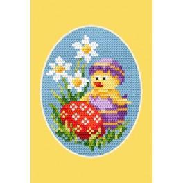 Stickpackung - Osternkarte - Ein Küken und ein Osterei