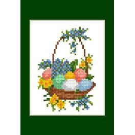 Stickpackung - Osternkarte - Osterneier im Korb