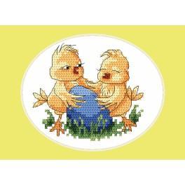 Stickpackung - Osternkarte - Küken