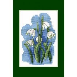 ZU 4849-02 Stickpackung - Osterkarte - Frühlings-Knotenblumen