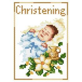 Stickpackung - Karte - Andenken an die Taufe für einen Jungen