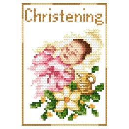 Stickpackung - Karte - Andenken an die Taufe für ein Mädchen