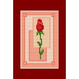 Stickpackung - Karte - Valentinstag - Eine Rose