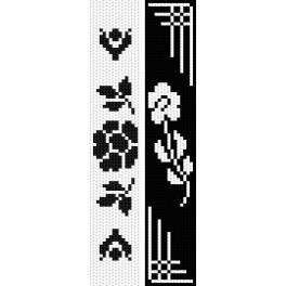 Stickpackung - Lesezeichen - Schwarze Blumen