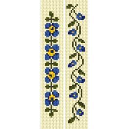 Stickpackung - Lesezeichen - Blaue Blumen