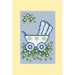 ZU 4458-01 Stickpackung - Geburtskarte - Blauer Kinderwagen