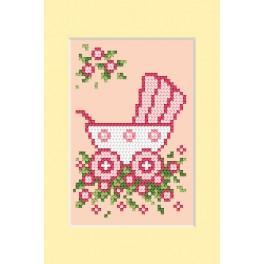 ZU 4458-02 Stickpackung - Geburtskarte - Rosa Kinderwagen