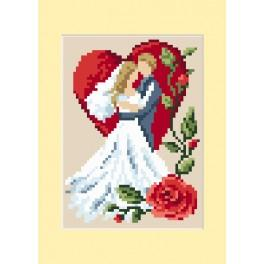ZU 4459-02 Stickpackung - Hochzeitskarte - Verliebte Tauben