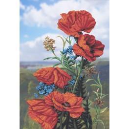 Stickpackung mit Stickgarn und Hintergrund - Mohnblumen