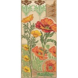 Floral vernissage - Stickpackung mit Aufdruck, Stickgarn und Hintergrund