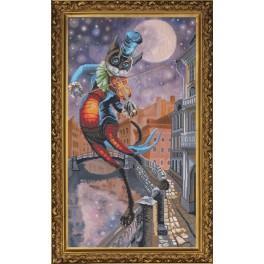 Stickpackung mit Stickgarn und Hintergrund - Mondsonate