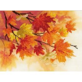 Stickpackung mit Aufdruck, Stickgarn und Hintergrund - Herbstfarben