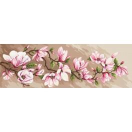 Stickpackung mit Aufdruck, Stickgarn und Hintergrund - Romantische Magnolien