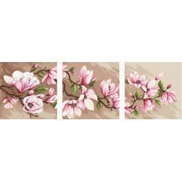 Stickpackung mit Aufdruck, Stickgarn und Hintergrund - Triptychon mit Magnolien