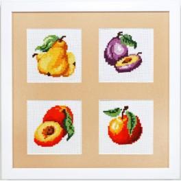 Stickpackungen mit Stickgarn und Rahmen - Am Stand - Früchte