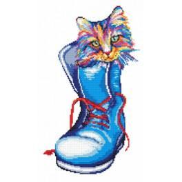 Set mit Aida mit Aufdruck und Stickgarn - Katze in einem Schuh Katze in einem Schuh