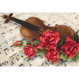 Set mit Aida mit Aufdruck und Stickgarn - Geige mit Rosen