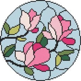 Set mit Aida mit Aufdruck und Stickgarn - Mosaikmalerei – Magnolie