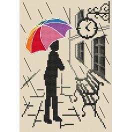 ZN 8628 Set mit Aida mit Aufdruck und Stickgarn - Bunter Regenschirm - Warten