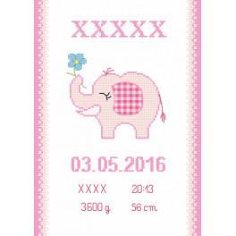 ZN 8636-01 Set mit Aida mit Aufdruck und Stickgarn - Geburtsschein mit Elefantchen
