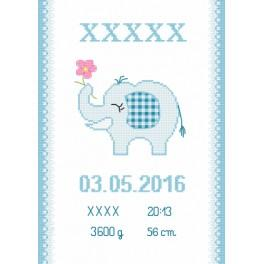 ZN 8636-02 Set mit Aida mit Aufdruck und Stickgarn - Geburtsschein mit Elefantchen
