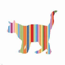 Set mit Aida mit Aufdruck und Stickgarn - Regenbogenfarbene Katze