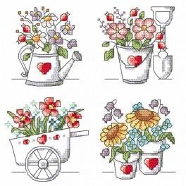 Set mit Aida mit Aufdruck und Stickgarn - Blumen aus dem Garten