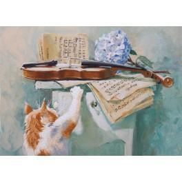 Zestaw z nadrukiem, muliną i podmalowanym tłem - Ciekawski kot
