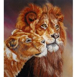 Set mit Aufdruck, Stickgarn und Hintergrund - Löwen
