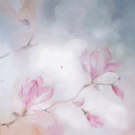 Blühende Magnolie - B.Sikora-Malyjurek - Aida Stoff mit Hintergrund
