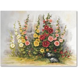 Malven im Garten - B.Sikora-Malyjurek - Aida Stoff mit Hintergrund
