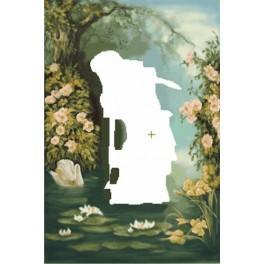 Seerosen pflückende Nixe - Aida Stoff mit Hintergrund