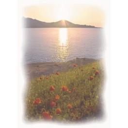 Sonnenuntergang am See - Aida Stoff mit Hintergrund