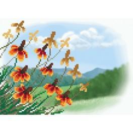 Herbstblumen - Aida Stoff mit Hintergrund