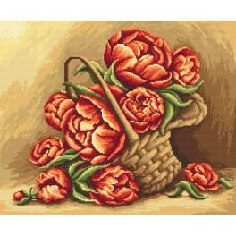 Aida z podmalowanym tłem - Kwiaty w koszu