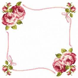 Zestaw z muliną i serwetką - Serwetka z różami