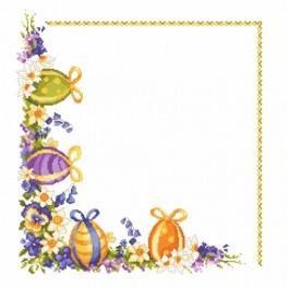 Zestaw z muliną i serwetką - Pisanki z wiosennymi kwiatami