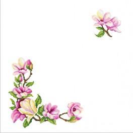 Zestaw z muliną i serwetką - Serwetka z gałązką magnolii