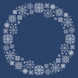 Stickpackung mit Stickgarn und Serviette - Serviette mit Schneeflocken