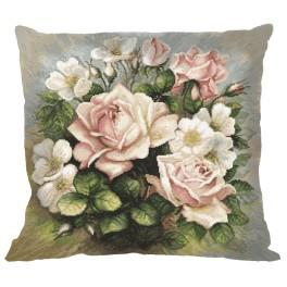 Wzór graficzny - Poduszka - Pastelowe róże - Haft krzyżykowy